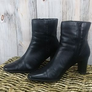 A.N.A. Leather Stacked Heel Zipper Ankle Boots